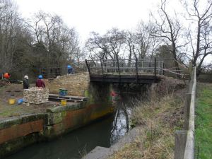Trust members working on the Lock at Pipps Ford